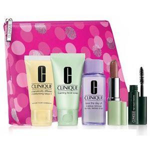 CLINIQUE 6pc Makeup Set Mascara Lipstick Soap+ NEW